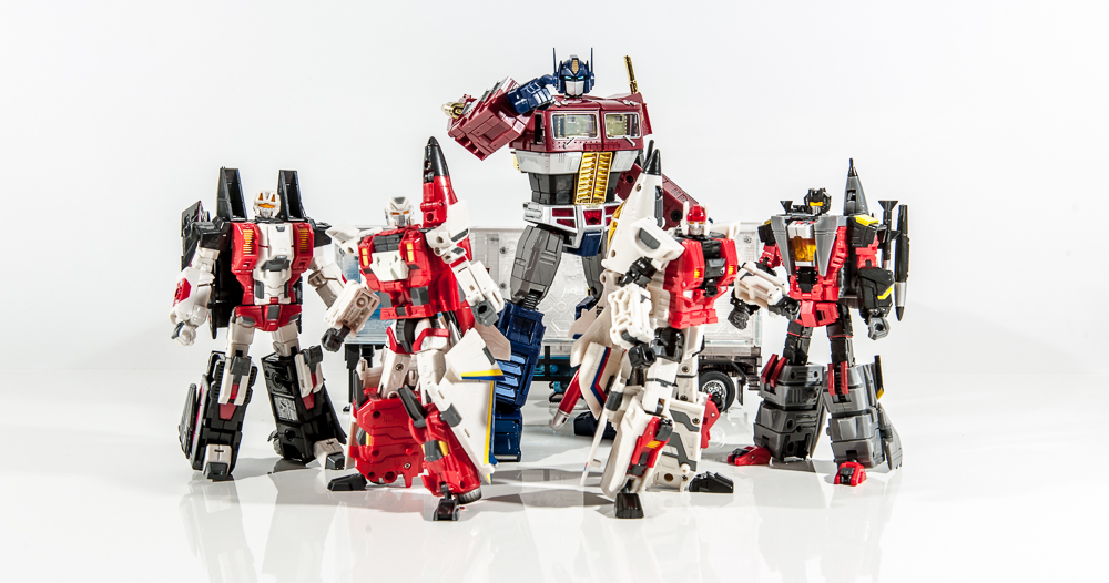 transformers masterpiece mp group shot comparison together optimus prime aerialbots air raid skydive slingshot fireflight