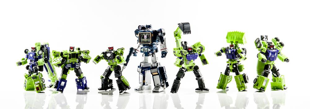 transformers masterpiece mp group shot comparison together soundwave constructicons hook scrapper longhaul scavenger mixmaster bonecrusher