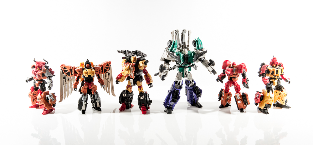 transformers masterpiece mp group shot comparison together sixshot razorclaw divebomb tantrum headstrong rampage predacons g1