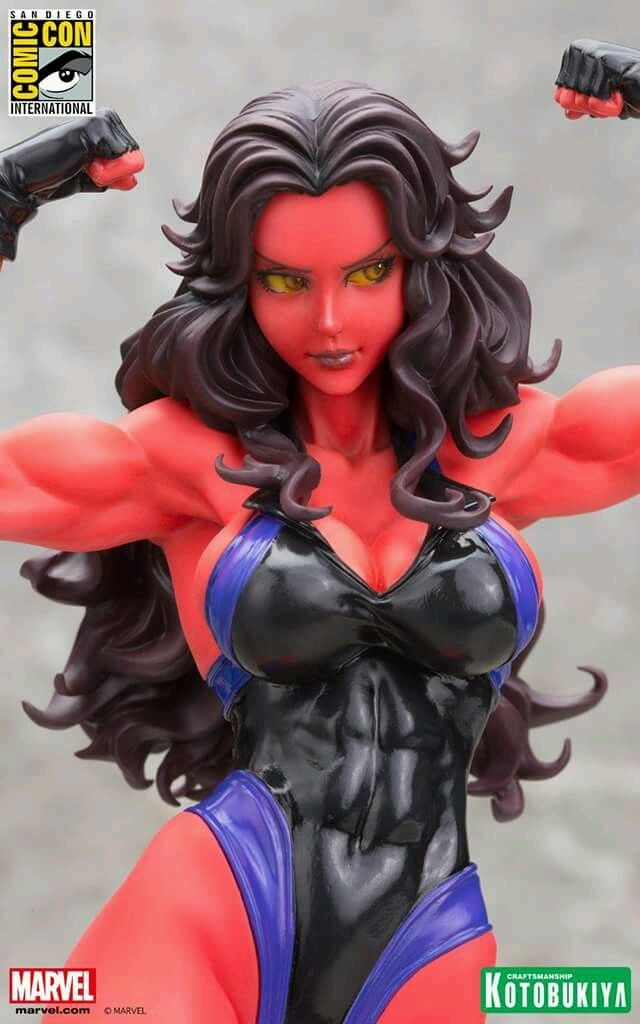 sdcc 2015 marvel kotobukiya red she-hulk bust